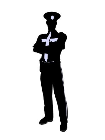 Male police officer silhouette illustration on a white background Banque d'images