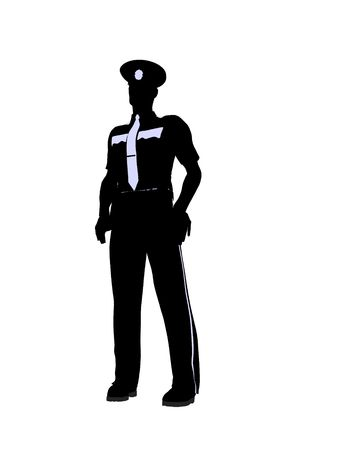 Male police officer silhouette illustration on a white background Standard-Bild