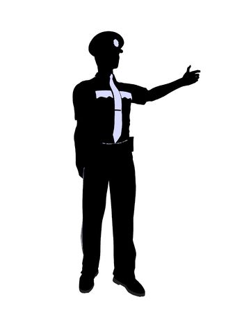 patrolman: Male police officer silhouette illustration on a white background Stock Photo