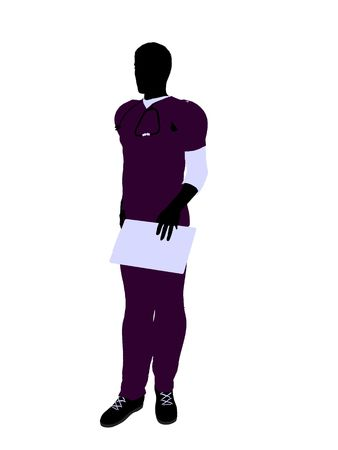 healer: Male doctor silhouette illustration on a white background Stock Photo