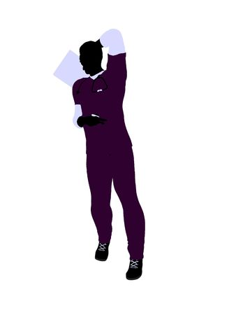 Male doctor silhouette illustration on a white background Imagens