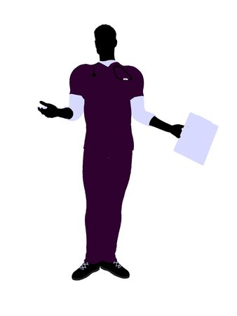 medico: Male doctor silhouette illustration on a white background Stock Photo