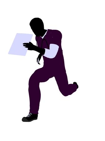 esculaap: Male doctor silhouette illustration on a white background Stockfoto