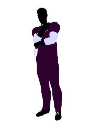 Mannelijke arts silhouet illustratie op een witte achtergrond