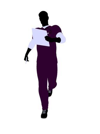 白い背景の上の男性医師シルエット イラスト 写真素材