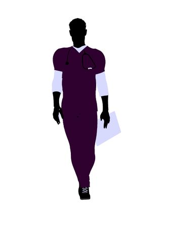 Male doctor silhouette illustration on a white background Stock Photo