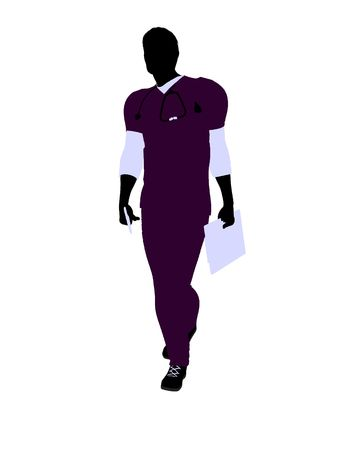 general practitioner: Male doctor silhouette illustration on a white background Stock Photo