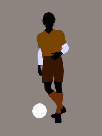 Male soccer player art illustration silhouette on a white background Zdjęcie Seryjne