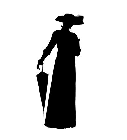 Female victorian art illustration silhouette on a white background Banco de Imagens
