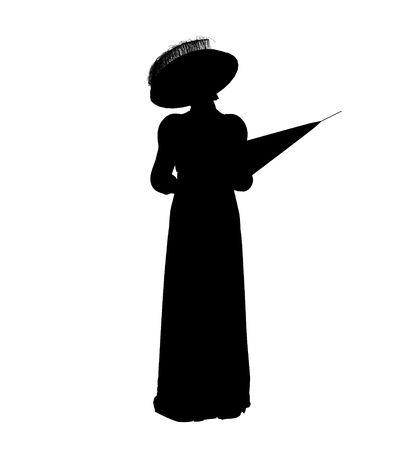Female victorian art illustration silhouette on a white background Imagens