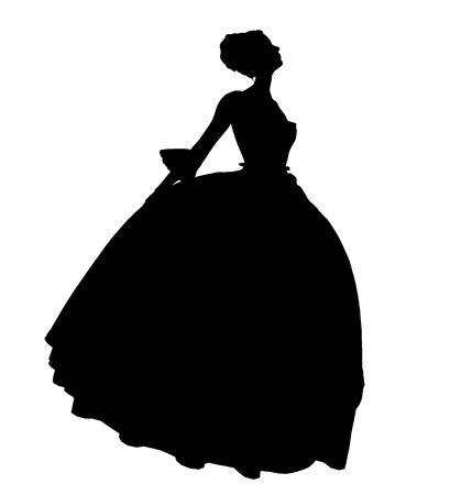 Cinderella illustration silhouette on a white background Stock Photo
