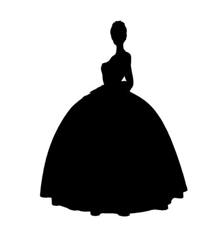 Cinderella illustration silhouette on a white background Фото со стока
