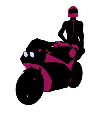 Sport femminile biker arte illustrazione silhouette su uno sfondo bianco  Archivio Fotografico - 5764066