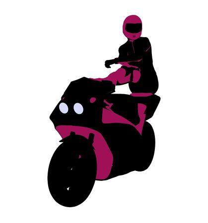 Sport femminile biker arte illustrazione silhouette su uno sfondo bianco  Archivio Fotografico - 5764047