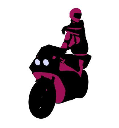 Sport femminile biker arte illustrazione silhouette su uno sfondo bianco  Archivio Fotografico - 5764048