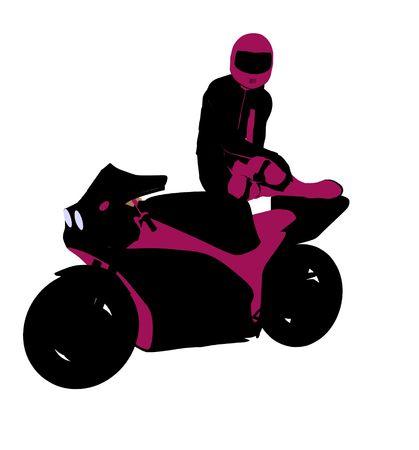 Sport femminile biker arte illustrazione silhouette su uno sfondo bianco Archivio Fotografico - 5764064