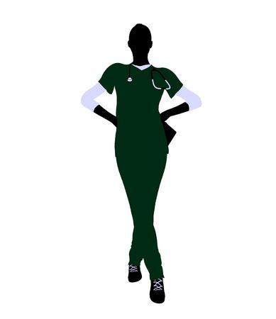 Female doctor art illustration silhouette on a white background