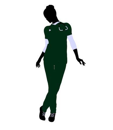 healer: Female doctor art illustration silhouette on a white background