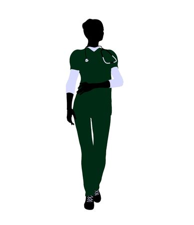 general practitioner: Female doctor art illustration silhouette on a white background