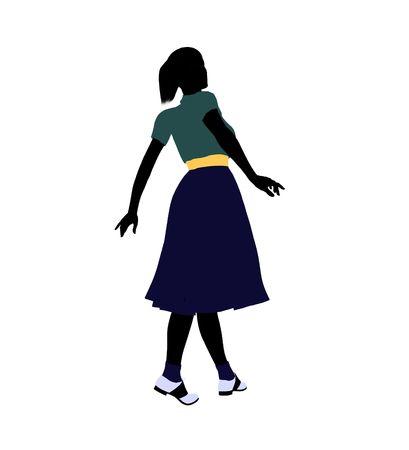 50's female dancer art illustration silhouette on a white background Stock Illustration - 5764411