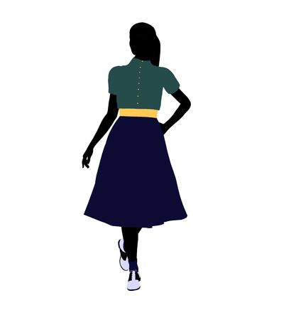 50s female dancer art illustration silhouette on a white background