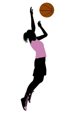 Female basketballl player silhouette on a white background