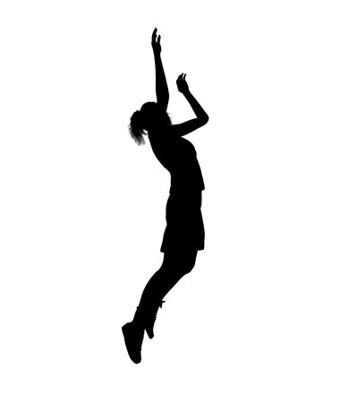 Female basketballl player silhouette on a white background Stock fotó - 5764601