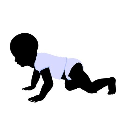 Baby art illustration silhouette on a white background Stock Photo