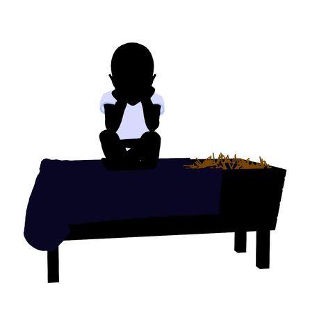 Baby art illustration silhouette on a white background Stock fotó