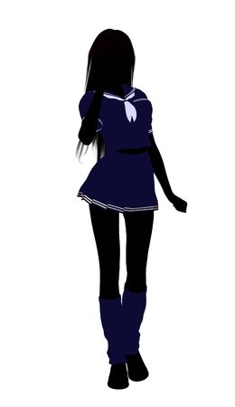 A girl silhouette dressed in a blue outfit on a white background 版權商用圖片