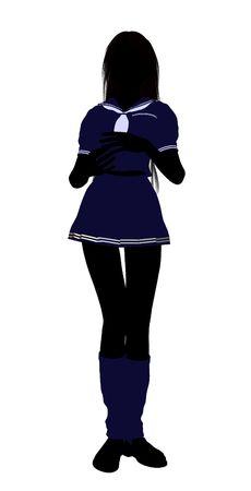 Het silhouet van een meisje gekleed in een blauwe outfit op een witte achtergrond  Stockfoto