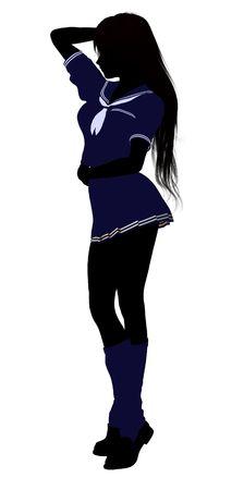 Een meisje silhouet gekleed in een blauwe uitrusting op een witte achtergrond