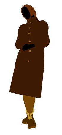 trench: Old lady silhouette dressed in a trench coat on a white background