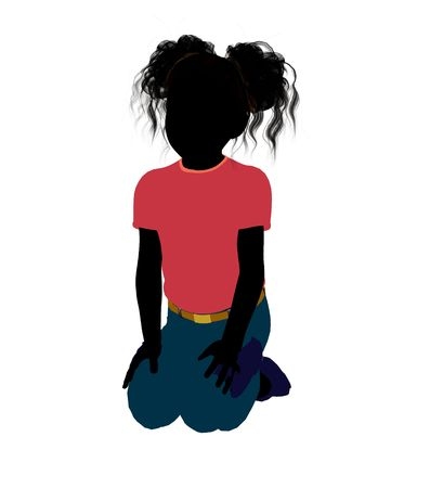 african american silhouette: African American girl silhouette on a white background Stock Photo