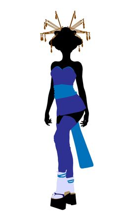 A geisha girl silhouette dressed in a blue outfit on a white background