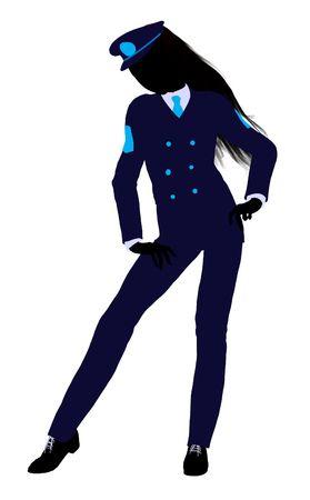 Het silhouet van een meisje gekleed in een blauwe uniform op een witte achtergrond