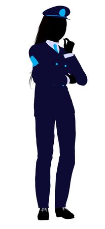 A girl silhouette dressed in a blue uniform on a white background 版權商用圖片