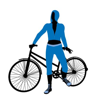 velocipede: Female bicycle rider silhouette in a blue outfit on a white background