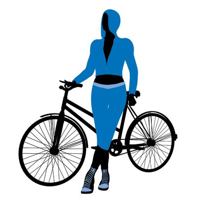 Female bicycle rider silhouette in a blue outfit on a white background