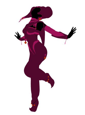 A girl joker silhouette dressed in a pink outfit on a white background