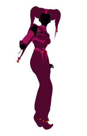 wag: A girl joker silhouette dressed in a pink outfit on a white background