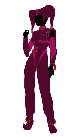 A girl joker silhouette dressed in a pink outfit on a white background photo