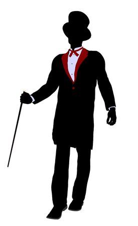 Male Magician silhouette illustration on a white background Stock Photo