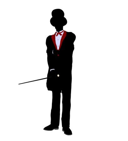 Male Magician silhouette illustration on a white background illustration