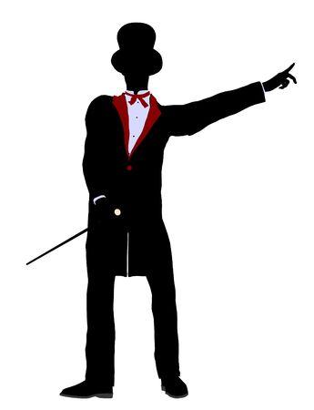 Male Magician silhouette illustration on a white background Banco de Imagens