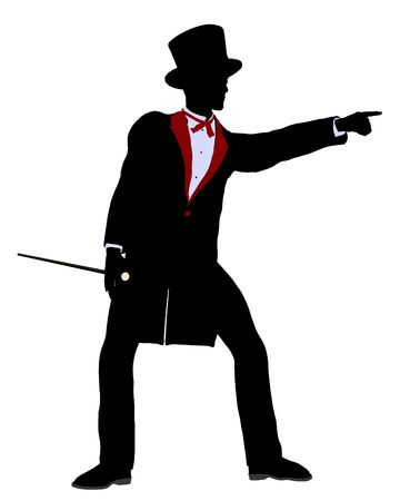 archimage: Male Magician silhouette illustration on a white background Stock Photo