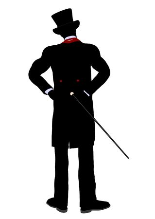 diabolist: Male Magician silhouette illustration on a white background Stock Photo