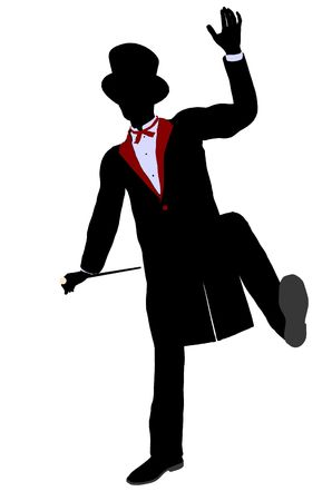 Male Magician silhouette illustration on a white background Stock Illustration - 5894155