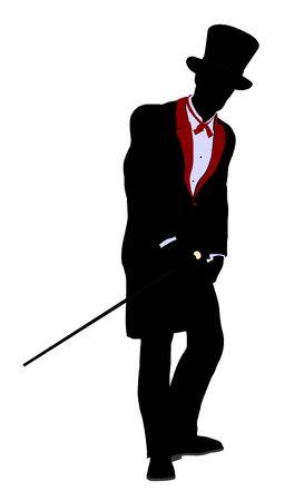adivino: Ilustraci�n de silueta de mago masculino sobre un fondo blanco