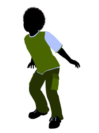 tot: African American boy silhouette on a white background